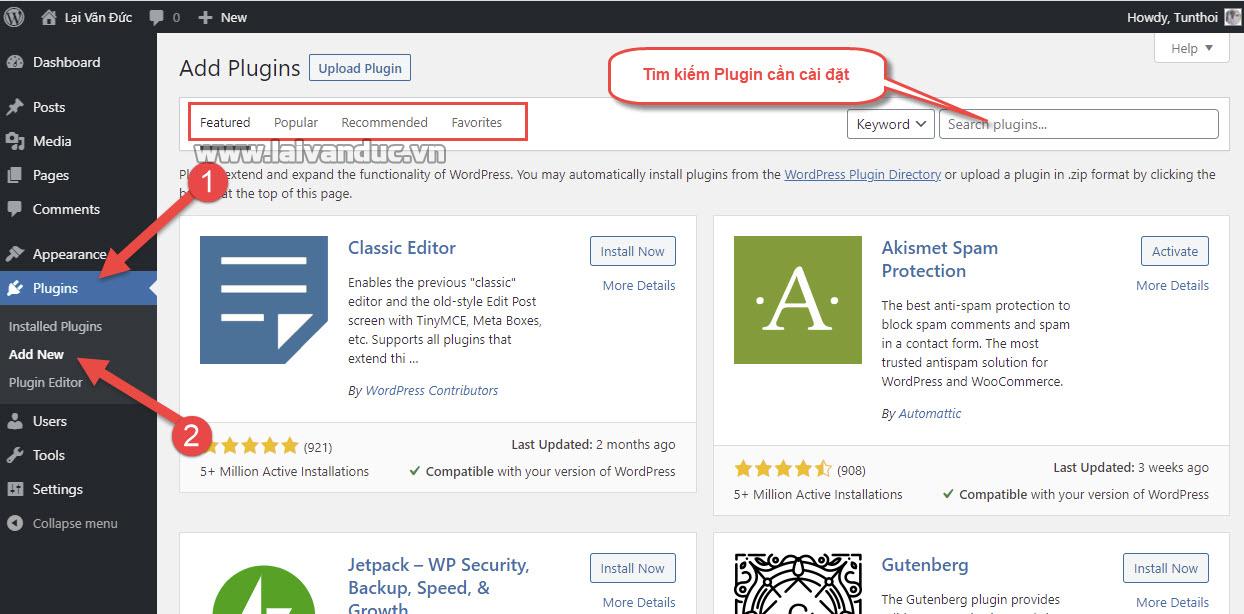 Cài đặt Plugin miễn phí trên WordPress.org