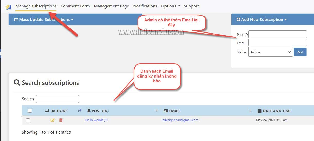 Manage subscriptions