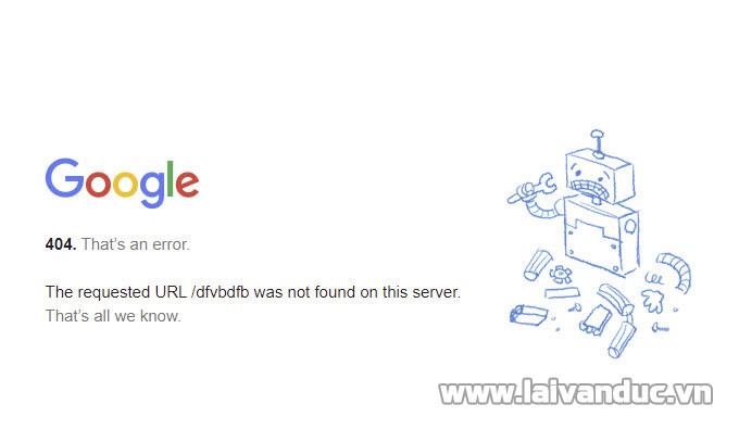 Trang báo lỗi 404 của Google