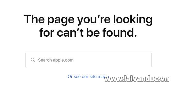 Trang báo lỗi 404 của Apple