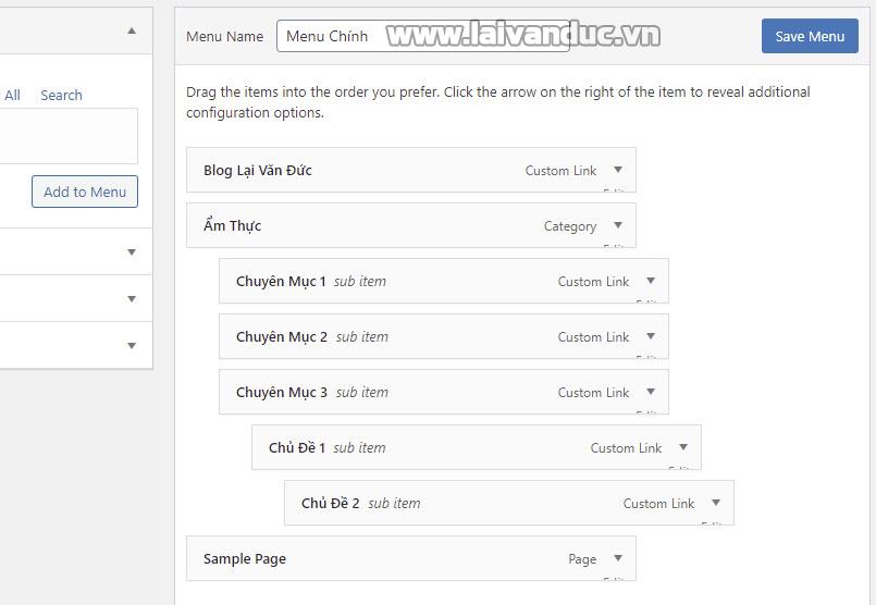 Tạo Menu đa cấp cho WordPress