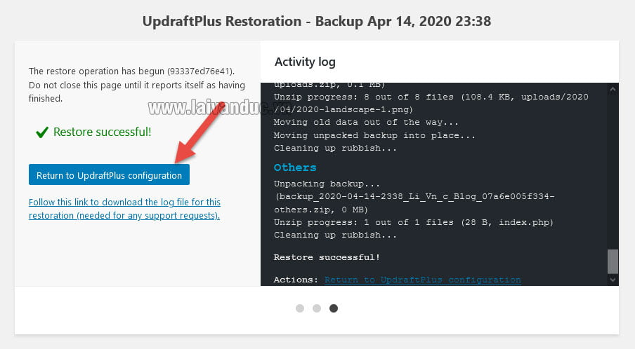 Nhấn vào Return to UpdraftPlus để quay lại