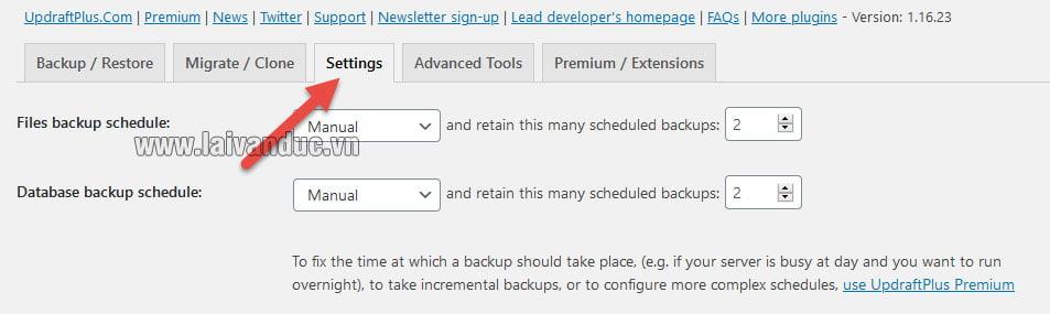 Thiết lập cơ bản Backup website