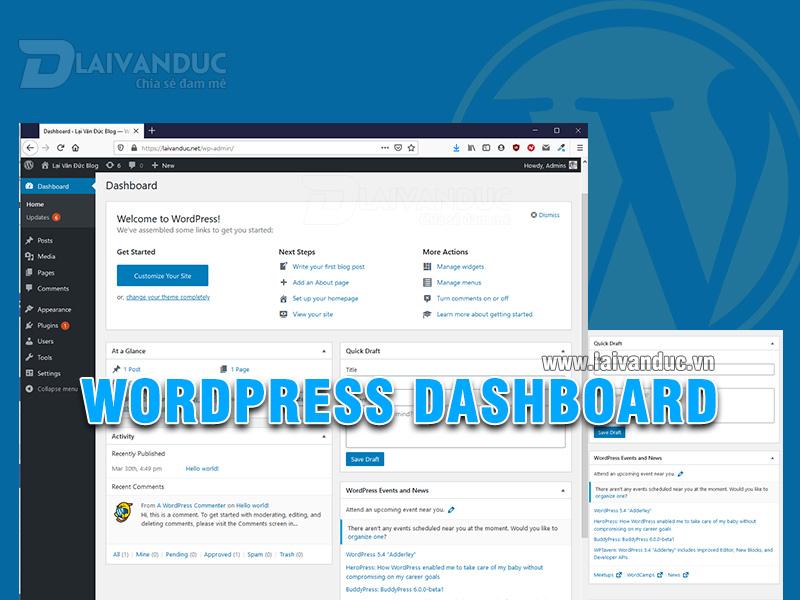 WordPress Dashboard | Khám phá bảng điều khiển WordPress